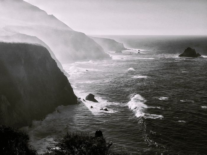 Misty morning at Big Sur Sea Water Beauty In Nature Scenics Nature Horizon Over Water Tranquil Scene Sky Tranquility Wave Outdoors Day No People Destination Beach Big Sur Monochrome Black And White