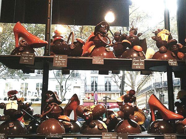 Chocolate treats in Paris Paris Chocolate Shop Chocolate Shoes And Treats Window Display Photography Chocolate♡