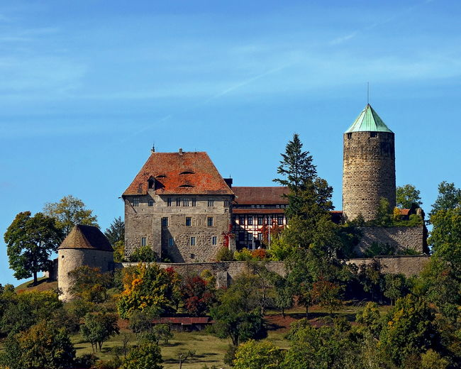 A view of Burg Colmberg in Bavaria, Germany Architecture Bavaria Building Exterior Built Structure Burg Colmberg City Clock Tower Day Germany Growth Low Angle View Nature No People Outdoors Sky Travel Destinations Tree