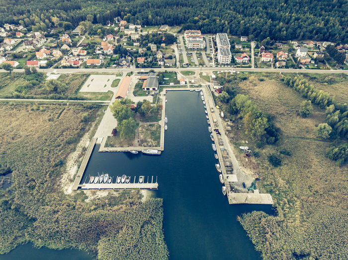 Aerial view on a harbour in Kąty Rybackie, Poland. Retro style. Aerial View Architecture Building Exterior Built Structure City Cityscape Day High Angle View Nature No People Outdoors Sky Tree Water