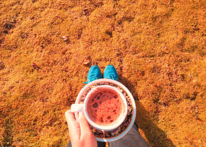 Low section of person having coffee in cup while standing on field