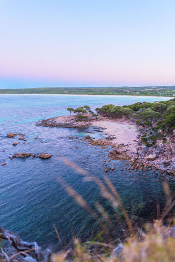 Shelley's Cove Water Sea Sky Horizon Horizon Over Water Beauty In Nature Scenics - Nature Tranquility Land Tranquil Scene Nature No People Beach Blue Outdoors Day Environment Clear Sky Travel Destinations Vegetation Sunset Evening Colorful Australia Travel Bay Cove