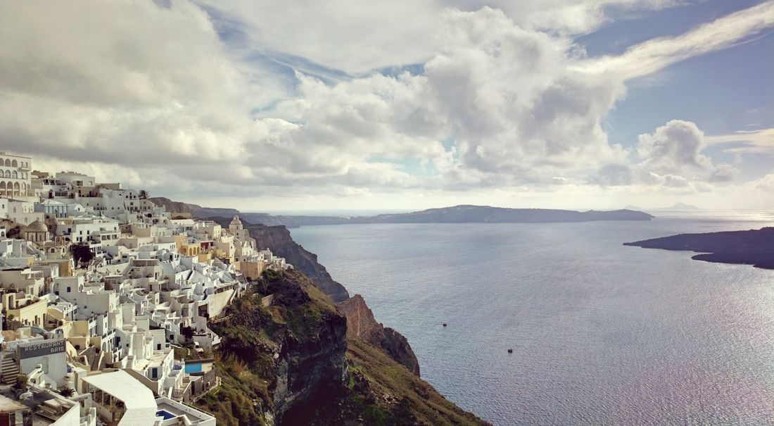|| Nature Theories || Santorini, Greece. Town TheFoneFanatic Nokia  Nokia808 Vacations Mobilephotography PhonePhotography Nature Sea Aerial View Beach High Angle View Sky Architecture Horizon Over Water Seascape My Best Travel Photo