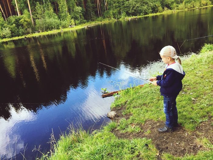 Water Fishing Nature Real People Childhood Beauty In Nature Small Fisher Boy