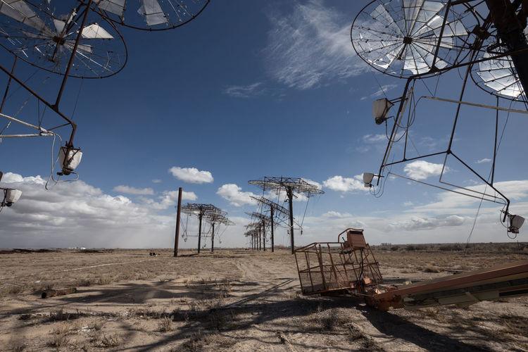 Electric poles on landscape