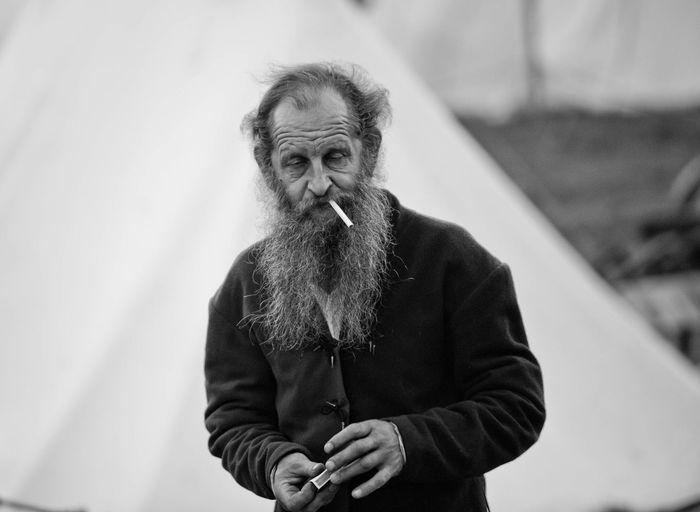 Beard Cigarette  Human One Man Only People Poor  Portrait Senior Adult