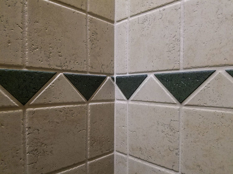 Triangle Shape Full Frame Backgrounds Architecture No People Built Structure Close-up Indoors  Geometry Pyramid Interior Style Interior Design Decoration Design Tile Green Corner Wall Tiled Wall Grouted Grout