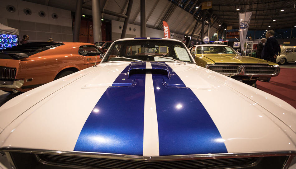 Blue Stripe Blue White Car Close-up Ford Mustang Land Vehicle Mode Of Transport No People Shelby GT 350 Transportation