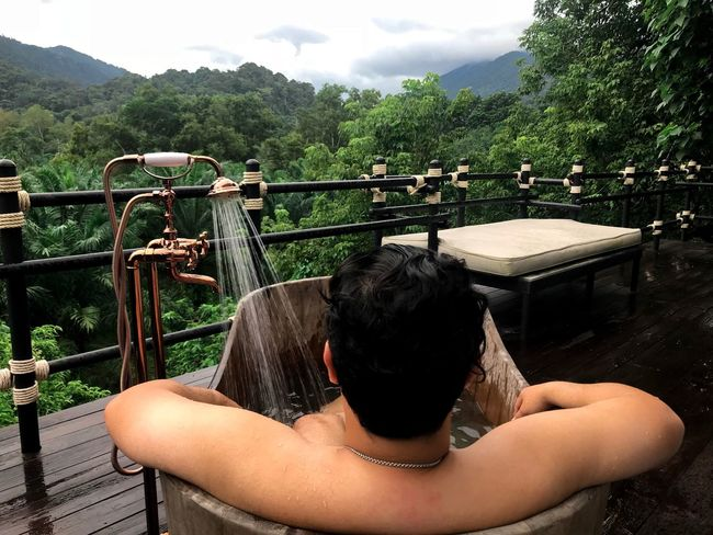 Take a shower and see the natural scenery. Backgrounds Relaxing Cool Green Beauty In Nature Travel Photography Barcony View Rear View One Person Plant Tree Water Leisure Activity Nature Lifestyles Real People Outdoors Shirtless Mountain Relaxation Women Railing Day Adult Architecture EyeEmNewHere