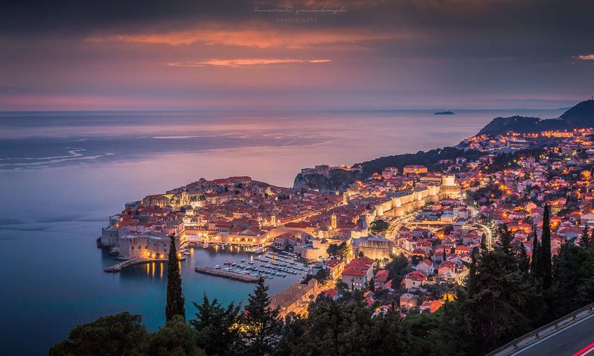 Dubrovnik from above Croatia Old Town, Dubrovnik. Architecture Landscape Blue Hour Sunset Outdoors Water Sky Cloud - Sky Tree Scenics Built Structure Beauty In Nature Nature Building Exterior River High Angle View No People Travel Destinations Cityscape Night City