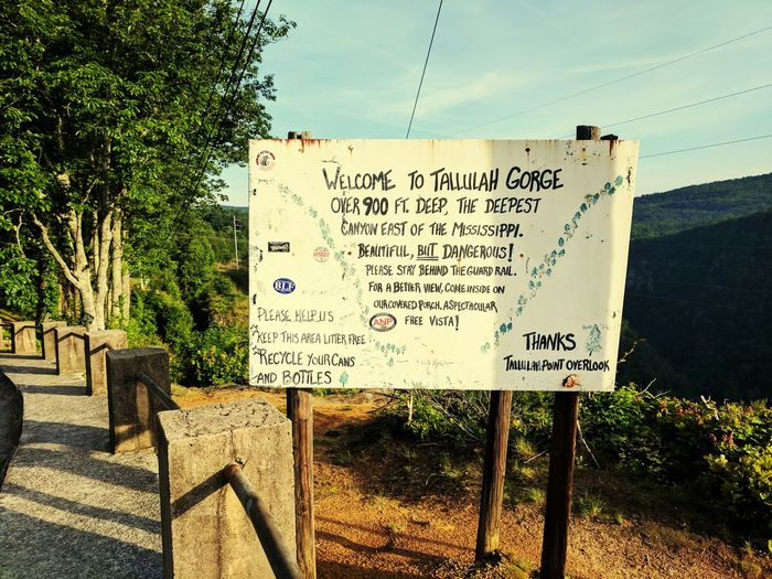 Welcome to Tallulah Gorge. The Great Outdoors - 2017 EyeEm Awards Nature Sky Outdoors Tallulah Gorge ExplorenorthgeorgiaNo People Text Northgeorgia JewelofGeorgia Day Communication