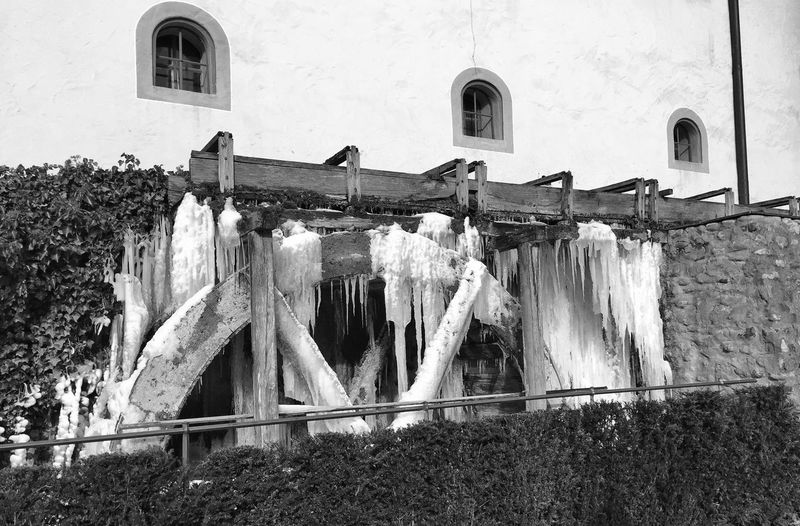 Frozen Architecture Built Structure Building Exterior Drying Hanging Clothesline