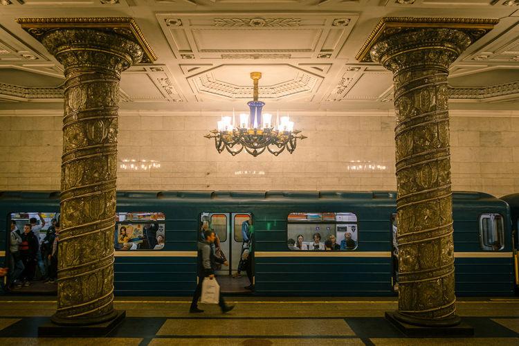View of train at subway station