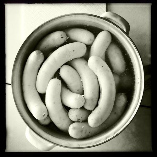 Sausages in a pot / Weisswürste in einem Kochtopf Kitchen Kochtopf Topf Kochen Würste Wurst Germany🇩🇪 Bavaria Sausages Cooking Food And Drink Healthy Eating Food Transfer Print Wellbeing Auto Post Production Filter Vegetable Bowl Close-up Directly Above