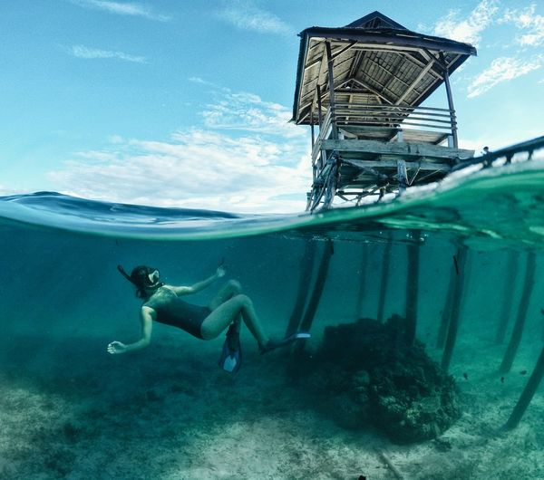 The Great Outdoors - 2017 EyeEm Awards Underwater UnderSea Scuba Diving Sea Adventure Swimming Underwater Diving Exploration One Person Water Adults Only Scuba Mask Snorkeling People Nature Sea Life Only Women Adult Vacations Aquatic Sport Clear Sky INDONESIA Travel Vacations