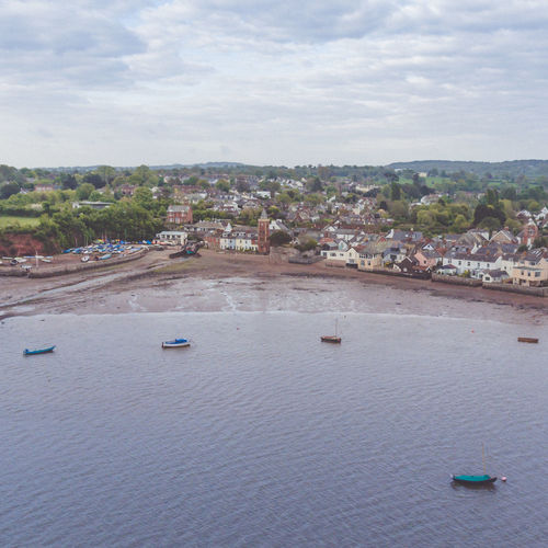 Coastline Landscape Devon Aerial View Architecture Boats Building Exterior Built Structure Clock Tower Coastal Town High Angle View Nautical Vessel No People Outdoors Sky Uk Village Village Life Water Waterfront