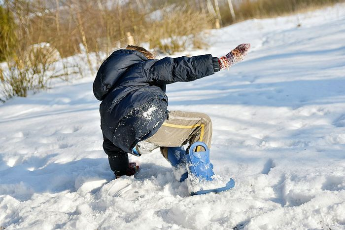 Cold Winter Snow Low Temperature Sled Slipped Fall Down Falling Down Boy Kid Nature Countryside Warm Clothing One Person Full Length People Outdoors Fun Day Sunlight Playing Leisure Activity Child One Boy Only Lifestyles Childhood Children Only