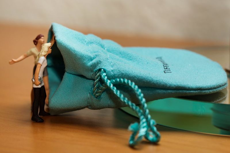 The Present People Macro Fun Jewelry Tiffany Little People Present Indoors  Close-up Table One Animal One Person Blue Invertebrate Full Length Human Body Part Women Representation Selective Focus Clothing Turquoise Colored
