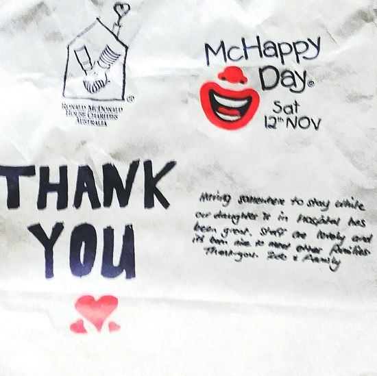 McHappyDay McHappy Day Mc Happy Day Macca's WesternScript Western Script Text Thank You McDonald's I'm Lovin' It Signs I'm Lovin' It ® The Face Of McDonald's Signage Ronaldmcdonaldhouse Mcdonalds The Golden Arches McCafe Maccas I'm Loving It Mickey D's Ronald McDonald House Notices Charity Event Ronnie Mc Donald McDonald's Signs Ronnie McDonald RonaldMcDonald Thankyou Thanks