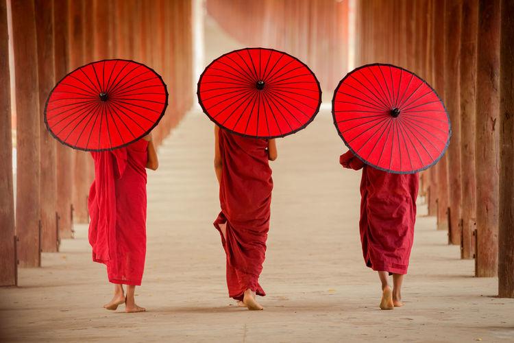Full frame shot of three monks