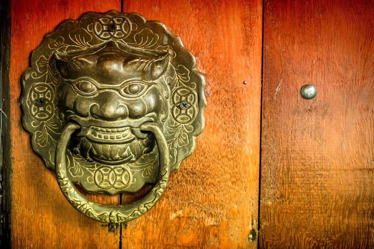 Close-Up Of Door-Knocker On Brown Wooden Door