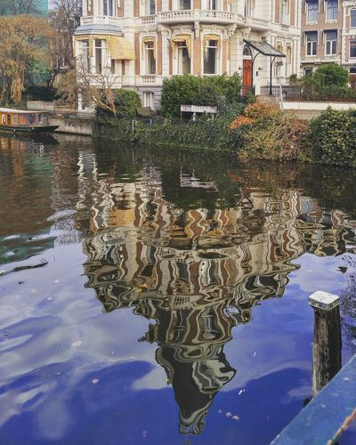 Reflection of building in water