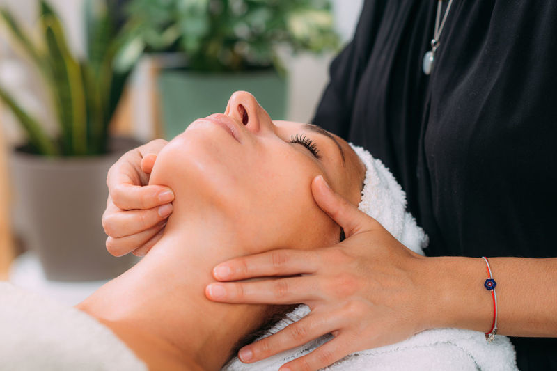 Ayurvedic face massage with ethereal oils
