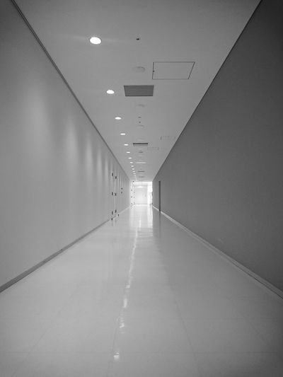 Black & White Black And White Indoors  The Way Forward No People Electric Lamp Corridor Perspective Far-off Exit