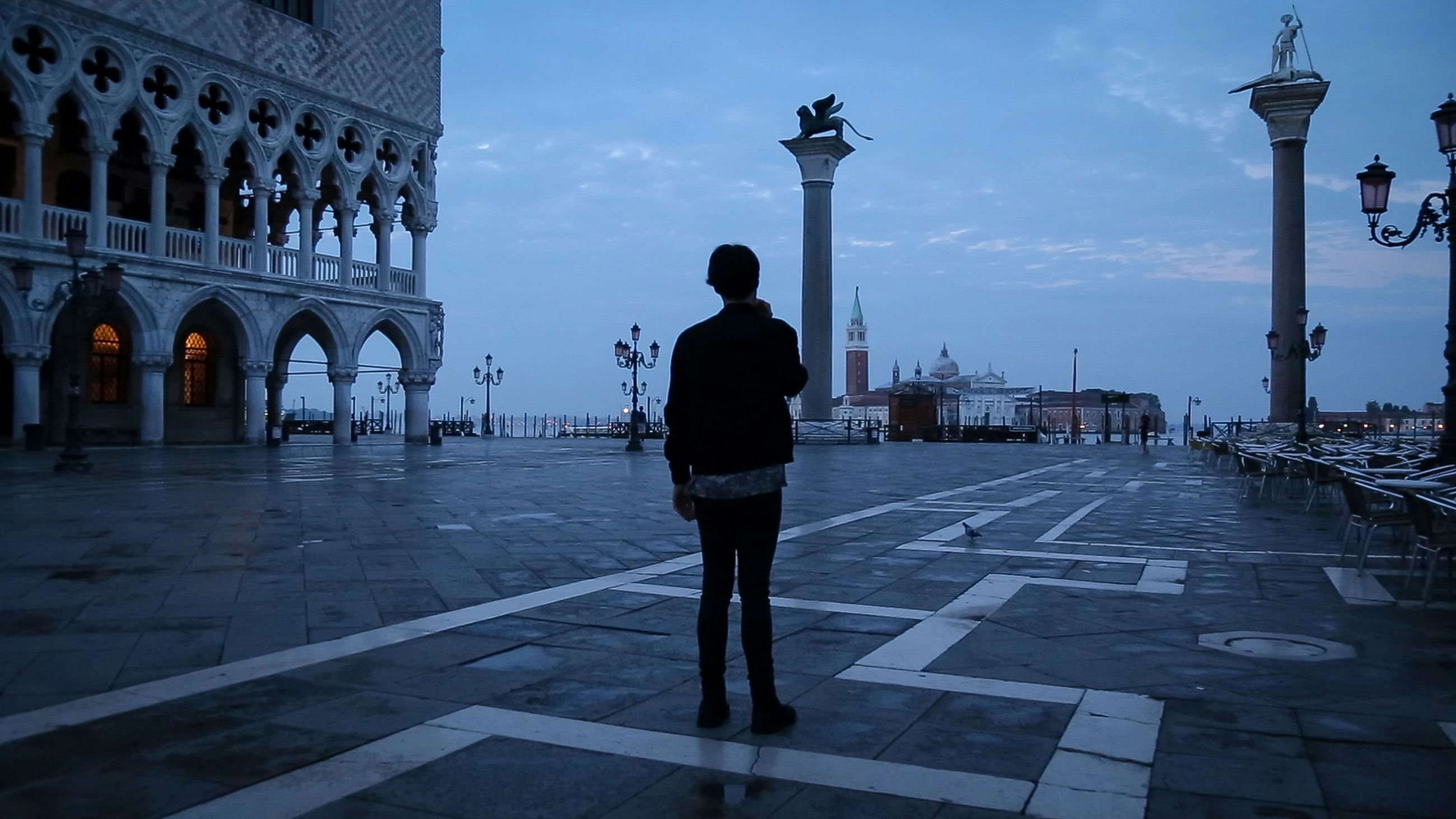 sky, one person, rear view, city, travel destinations, outdoors, men, architecture, people, adults only, adult, one man only, day