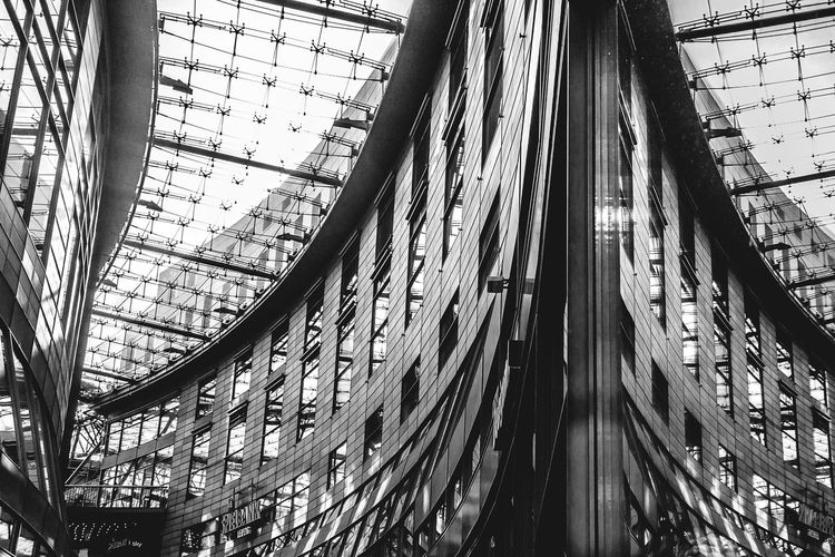 Petersbogen Leipzig Architecture Built Structure Low Angle View Indoors  Window Modern City Reflection City Life Leipzigartig Leipzigcity Leipzigtravel Leipzig Leipzigram Petersbogen City Architecture Low Angle View No People EyeEmNewHere EyeEmNewHere The Architect - 2017 EyeEm Awards Black And White Friday