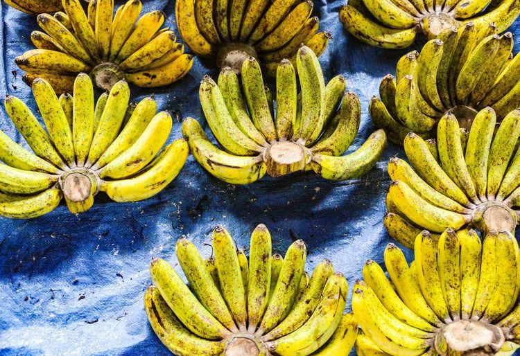 Going bananas Banana Fruit Yellow Banana Fruit Market In A Row INDONESIA Indonesian Market Yellow Green Color Beauty In Nature Full Frame Nature No People Underwater Freshness Blue