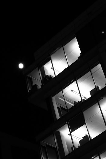 Moon Architecture B&w B&w Photography B&w Street Photography Building Exterior Built Structure Illuminated Low Angle View Moon Light Moonlight Night No People Outdoors Red Filter Sky Street Light Window