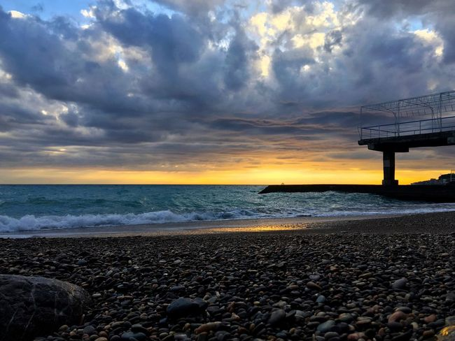 Sea Horizon Over Water Beach Sunset Cloud - Sky Nature Sky Beauty In Nature Water Outdoors Pebble Beach Day No People