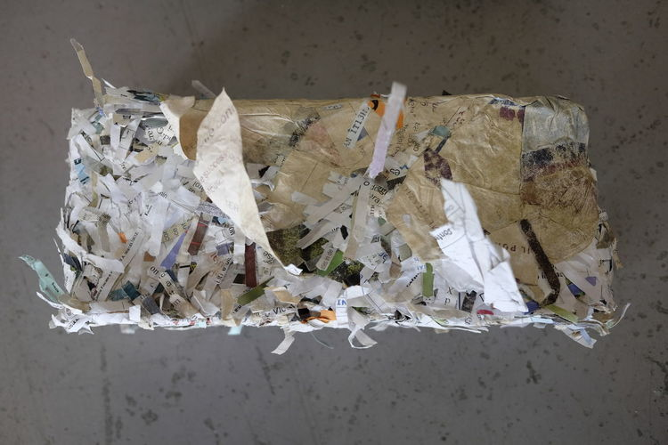 press for shredded paper Do It Yourself Press Pressed  Brick Compact Compacted Compressed Domestic Idea Manual Paper Recycling Reuse Shredded Shredding Socket