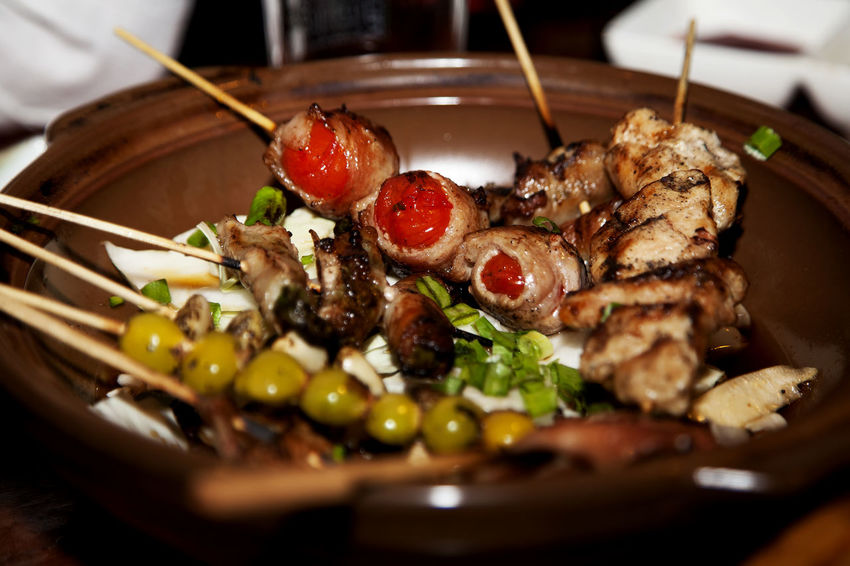 Bacon Close-up Composition Food Food And Drink Freshness Ginkgo Nut Healthy Eating Healthy Lifestyle Indoors  Indulgence Meal Meat Organic Plate Preparation  Ready-to-eat Seasoned And Grilled Chicken Skewers Serving Size Skewered Food Still Life Table Temptation Tomato
