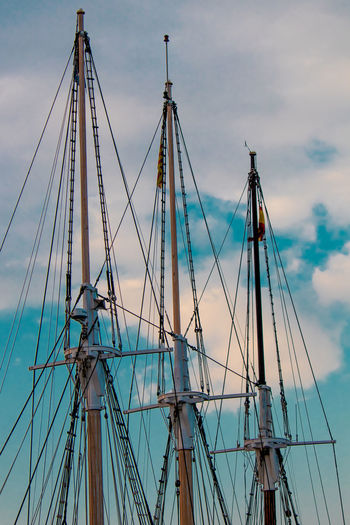 Architecture Blue Built Structure Cloud - Sky Complexity Connection Day Low Angle View Mast Mode Of Transportation Nature Nautical Vessel No People Outdoors Pole Rigging Rope Sailboat Sailing Sky Transportation Travel