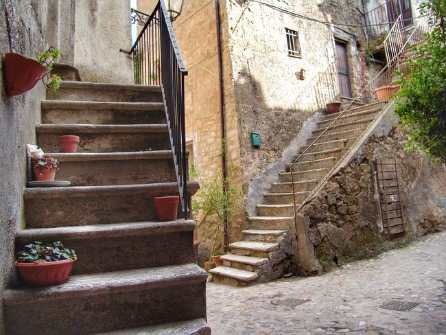 Steps Staircase Steps And Staircases Architecture Building Exterior Built Structure House Railing No People Outdoors Stairs Day Climbing Sky Italy Calcata Europe