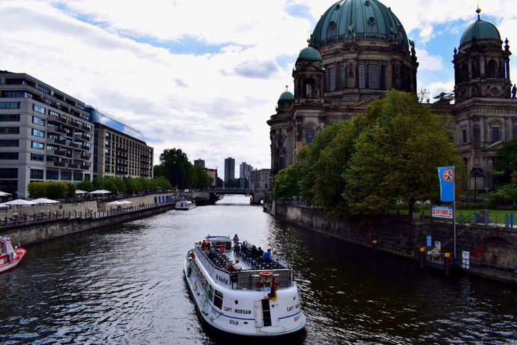 Nautical Vessel Water Transportation River Mode Of Transport City Boat Waterfront City Life Tourism Outdoors Berlin Cathedral Berlin Germany Photos River View Riverside River Collection Ferry Public Transportation Colour Photography Capture Berlin