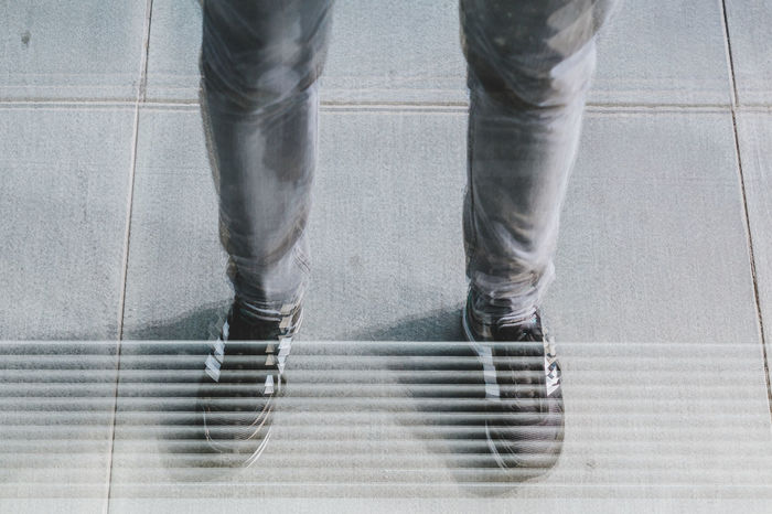 Refractions Adult Adults Only Close-up Day Human Body Part Human Leg Indoors  Low Section Men One Man Only One Person Only Men People Real People Shoe Standing Tile