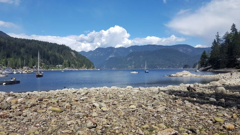 Mountain Water Beach Mountain Range Outdoors Travel Destinations Beauty In Nature Sky No People Nature Boats Sunshine Relaxing Tranquil Mountain Peaks British Columbia, Canada Deep Cove Clouds And Sky Rocky Beach Rocks Neighborhood Map