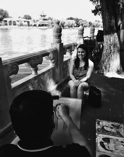 Art editing Art B&w People Stories from the City Nature Photography Lifestyles Drawing Girl Historical Place Close-up Afternoon Lake Smiling Young Women Portrait Water Sitting Women Looking At Camera Smiling Beautiful Woman Swimming Pool