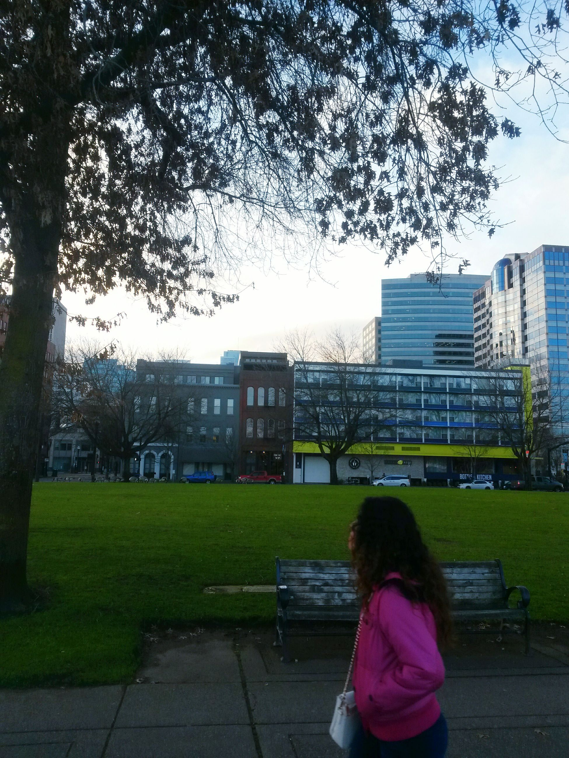 rear view, building exterior, architecture, real people, built structure, outdoors, lifestyles, one person, women, sitting, tree, day, leisure activity, city, grass, sky, nature, people, adult
