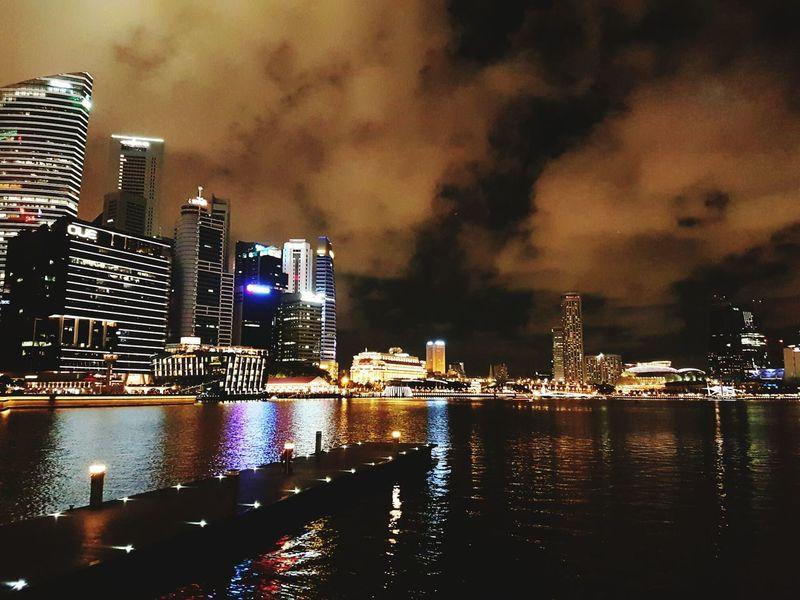 Urban Night Shot Urban Nightsky Thunderstorm Approaching Night View