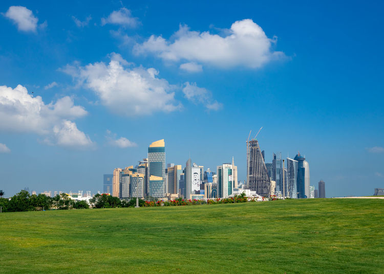 Architecture Building Exterior Grass Sky Cloud - Sky Landscape Day City No People Outdoors Al Bidda Park Doha Qatar Public Transportation Westbay Skyline