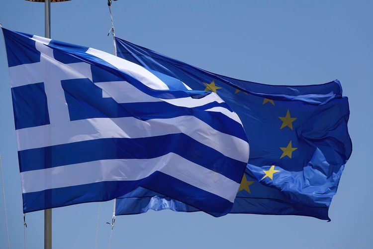 Flags of Greece and Europe Flag Blue Patriotism Low Angle View No People Day Outdoors Clear Sky Close-up Blue Sky Europe Greece AMP PICTURES