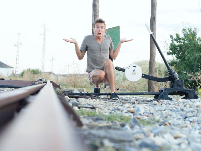 Boy Delay Rail Strike Railway Railway Track Roadwork Student Train Waiting Where Is The Train? Young Man