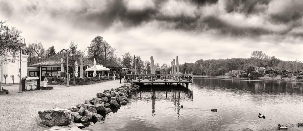 BRUEGGEN, GERMANY - JANUARY 01, 2017: The sun shines on the piecful panorama of Lake Harik - Grand hyperrealistic panorama of Hariksee Hariksee