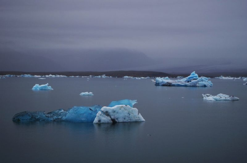 Icebergs floating in the Jokulsarlon glacier lagoon in iceland. Beauty In Nature Cold Temperature Day Floating On Water Frozen Glacier Ice Iceberg Iceberg - Ice Formation Lake Melting Nature No People Outdoors Scenics Sky Snow Tranquil Scene Tranquility Water Waterfront Winter