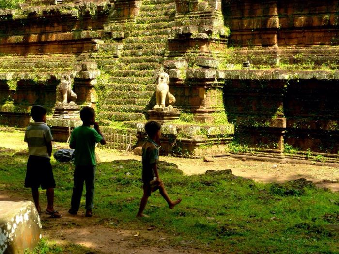 Cambodia Siem Reap Angkor Thom Temple Children Playing