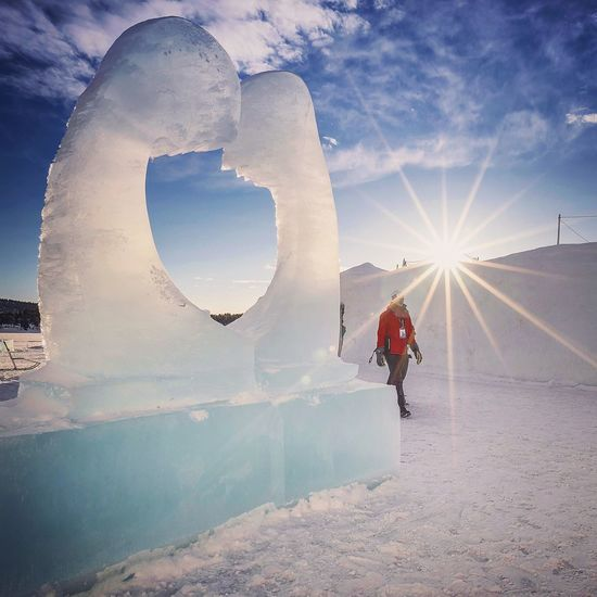 The Ice Lovers Sunbeam Sunlight Ice Age Winter Frozen Lens Flare EyeEm Masterclass Sweden Lapland Ice Sculpture Icehotel Scandinavia EyeEm Nature Lover Tranquil Scene Cold Temperature Snow Ice Snow And Sun Snow And Ice  People And Places